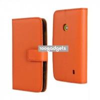 Чехол портмоне подставка с защелкой для Nokia Lumia 520 Оранжевый