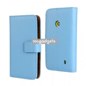 Чехол портмоне подставка с защелкой для Nokia Lumia 520 Голубой