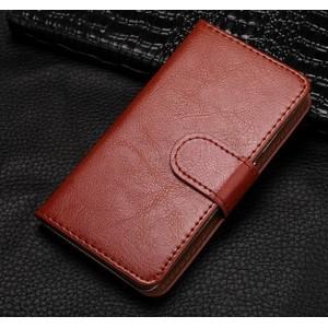 Чехол горизонтальная книжка на клеевой основе на магнитной защелке для Elephone P8 Mini Коричневый