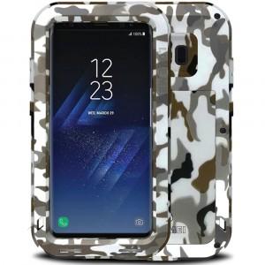 Эксклюзивный многомодульный ультрапротекторный пылевлагозащищенный ударостойкий нескользящий чехол алюминиево-цинковый сплав/силиконовый полимер текстура Камуфляж для Samsung Galaxy S8