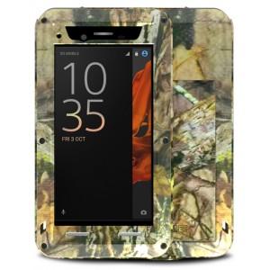 Эксклюзивный многомодульный ультрапротекторный пылевлагозащищенный ударостойкий нескользящий чехол алюминиево-цинковый сплав/силиконовый полимер текстура Камуфляж с закаленным защитным стеклом для Sony Xperia XZ