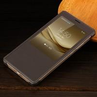 Чехол флип на пластиковой основе с окном вызова текстура Кожа для Huawei Mate 8 Коричневый