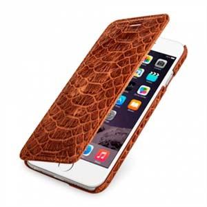 Кожаный чехол горизонтальная книжка (нат. кожа рептилии) для смартфона Iphone 6
