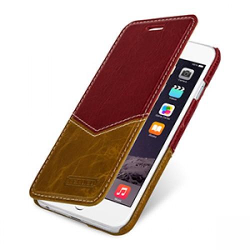 Кожаный чехол горизонтальная книжка (нат. кожа двух видов) для Iphone 6