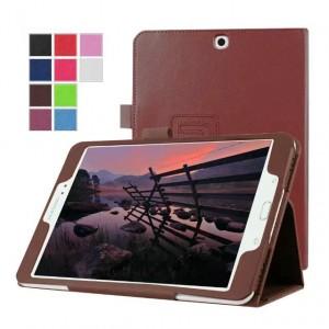 Чехол книжка подставка с рамочной защитой экрана с крепежом для стилуса для Samsung Galaxy Tab S2 8.0 Коричневый