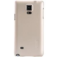 Пластиковый матовый нескользящий премиум чехол для Samsung Galaxy Note 4 Бежевый