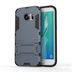 Противоударный двухкомпонентный силиконовый матовый непрозрачный чехол с поликарбонатными вставками экстрим защиты с встроенной ножкой-подставкой для Samsung Galaxy S7 Edge Синий