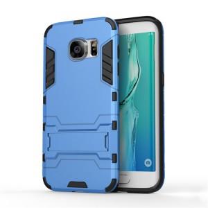 Противоударный двухкомпонентный силиконовый матовый непрозрачный чехол с поликарбонатными вставками экстрим защиты с встроенной ножкой-подставкой для Samsung Galaxy S7 Edge Голубой