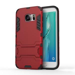 Противоударный двухкомпонентный силиконовый матовый непрозрачный чехол с поликарбонатными вставками экстрим защиты с встроенной ножкой-подставкой для Samsung Galaxy S7 Edge Красный