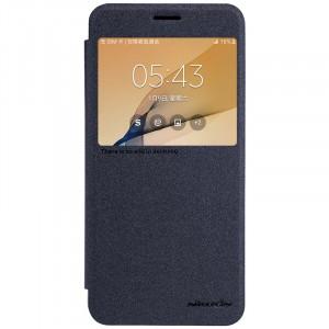 Чехол горизонтальная книжка на пластиковой нескользящей премиум основе с окном вызова для Samsung Galaxy J5 Prime