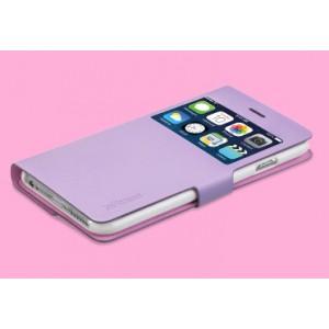 Эксклюзивный двухсторонний чехол флип подставка на пластиковой основе с окном вызова и антишпионской пленкой для Iphone 6 Plus