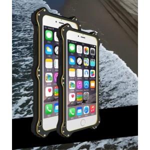 Антиударный пылевлагозащищенный гибридный премиум чехол силикон/металл/закаленное стекло со съёмной крышкой с окном вызова и свайпом для Iphone 6 Plus/6s Plus Черный