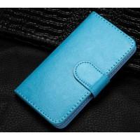 Винтажный чехол портмоне подставка на клеевой основе с отсеком для карт на магнитной защелке для Alcatel Shine Lite Голубой