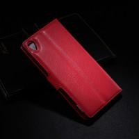 Чехол портмоне подставка на пластиковой основе на магнитной защелке для Sony Xperia Z1 Красный