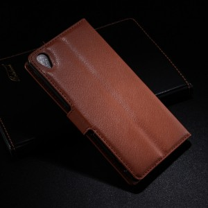 Чехол портмоне подставка на магнитной защелке для Sony Xperia Z1 Коричневый