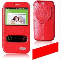 Чехол флип-подставка со свайпом, окном вызова и фигурной защитой объектива для Samsung Galaxy K Zoom (sm-c115) Красный