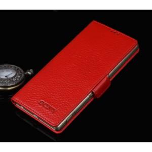 Кожаный чехол горизонтальная книжка (нат. кожа) с крепежной застежкой для Sony Xperia M5 Красный
