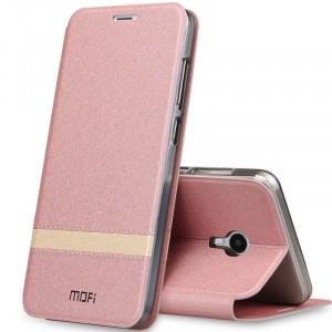 Чехол горизонтальная книжка подставка текстура Линии на силиконовой основе для Meizu M3 Max Розовый