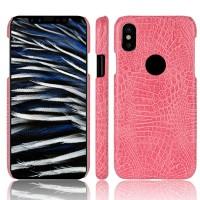 Чехол накладка текстурная отделка Крокодил для Iphone X 10 Пурпурный