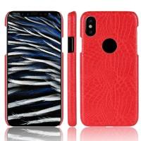 Чехол накладка текстурная отделка Крокодил для Iphone X 10 Красный