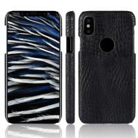 Чехол накладка текстурная отделка Крокодил для Iphone X 10 Черный