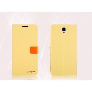 Текстурный чехол флип с дизайнерской застежкой для Alcatel One Touch Idol X+ Желтый