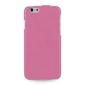 Кожаный чехол вертикальная книжка (нат. кожа) для Iphone 6 Plus Розовый