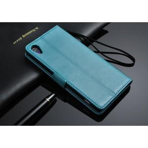 Чехол портмоне подставка глянцевый с защелкой для Sony Xperia Z2 Голубой