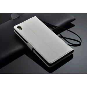Чехол портмоне подставка глянцевый с защелкой для Sony Xperia Z2 Белый