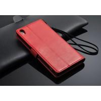 Чехол портмоне подставка глянцевый с защелкой для Sony Xperia Z2 Красный