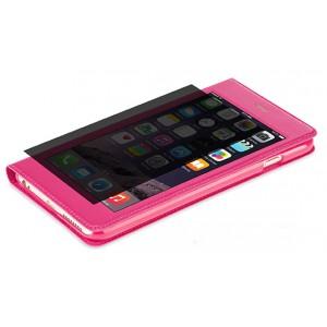 Эксклюзивный чехол флип на пластиковой основе с полноразмерным окном вызова и антишпионской пленкой для Iphone 6 Plus Пурпурный