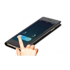 Эксклюзивный чехол флип на пластиковой основе с полноразмерным окном вызова для Iphone 6 Plus Черный