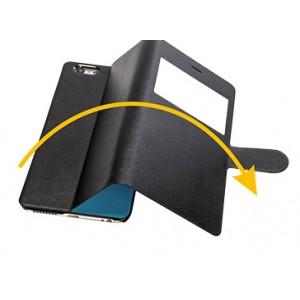 Эксклюзивный двухсторонний чехол флип подставка на пластиковой основе с окном вызова и антишпионской пленкой для Iphone 6 Plus Черный