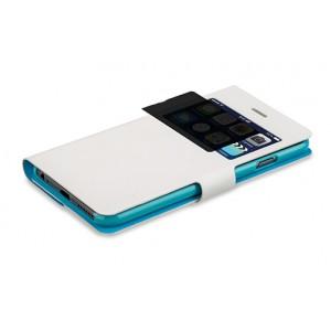 Эксклюзивный двухсторонний чехол флип подставка на пластиковой основе с окном вызова и антишпионской пленкой для Iphone 6 Plus Белый