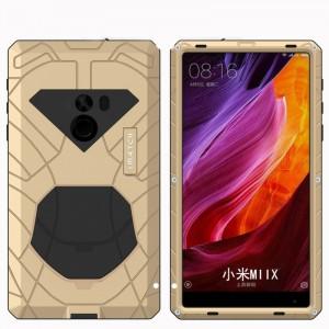 Эксклюзивный многомодульный ультрапротекторный пылевлагозащищенный ударостойкий нескользящий чехол алюминиево-цинковый сплав/силиконовый полимер для Xiaomi Mi Mix Бежевый