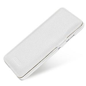Кожаный чехол горизонтальная книжка (нат. кожа) с защелкой для Iphone 6 Белый