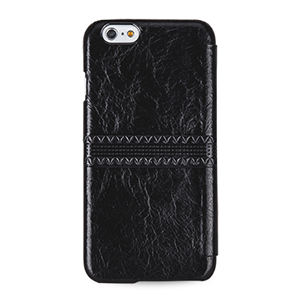 Кожаный чехол горизонтальная книжка (нат. кожа с вощеным покрытием) с ручной кожаной отделкой Sew Line для Iphone 6 Черный