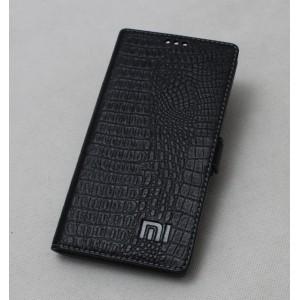 Кожаный чехол горизонтальная книжка подставка премиум (нат. кожа крокодила) с крепежной застежкой для Xiaomi Mi Mix Черный