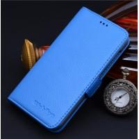 Кожаный чехол портмоне (нат. кожа) для Huawei Ascend Mate 7 Голубой