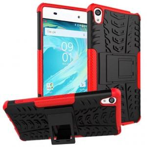 Противоударный двухкомпонентный силиконовый матовый непрозрачный чехол с нескользящими гранями и поликарбонатными вставками экстрим защиты с встроенной ножкой-подставкой для Sony Xperia XA Красный