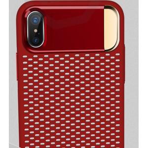 Пластиковый непрозрачный матовый чехол с подставкой и улучшенной защитой элементов корпуса для Iphone X 10/XS Красный