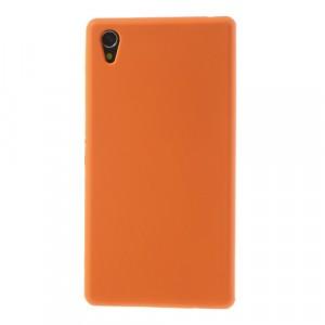 Силиконовый матовый непрозрачный чехол для Sony Xperia Z1 Оранжевый