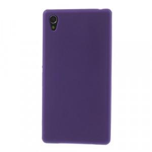 Силиконовый матовый непрозрачный чехол для Sony Xperia Z1 Фиолетовый