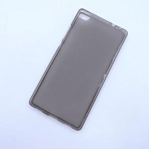 Силиконовый матовый полупрозрачный чехол для Huawei P8 Черный