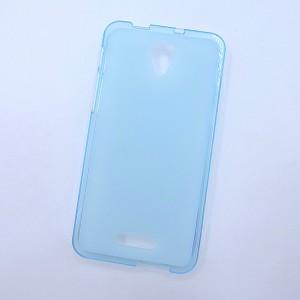 Силиконовый матовый полупрозрачный чехол для Alcatel Pop 4 Голубой