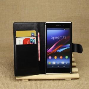 Чехол портмоне подставка на магнитной защелке для Sony Xperia Z1 Черный