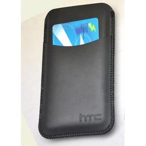Кожаный мешок с внешним карманом для HTC Desire 816 Черный