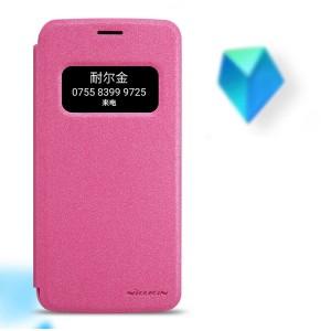 Чехол горизонтальная книжка на пластиковой нескользящей премиум основе с окном вызова для LG G5 Розовый