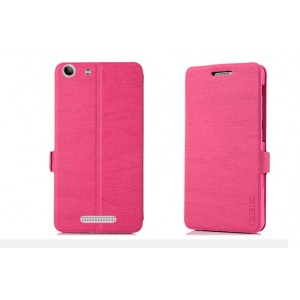 Текстурный чехол портмоне с защелкой для Philips Xenuim V526 Розовый