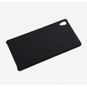 Пластиковый матовый нескользящий премиум чехол для Sony Xperia Z3+ Черный